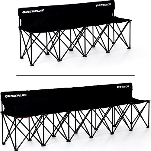 QuickPlay PRO Folding Bench – 4 Seats / 6 Seats / 9 Seats/Shelter & Bench – Build to Last Sideline Bench, Soccer Bench, or Sports Team Bench Improved 2018 Design –