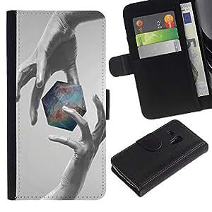 JackGot ( Geometría Galaxy )Samsung Galaxy S3 MINI i8190 (NOT S3) la tarjeta de Crédito Slots PU Funda de cuero Monedero caso cubierta de piel