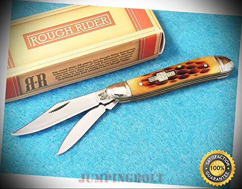 RR110 Peanut Amber jigged bone pocket knife 2 3/4'' closed - Knife for Bushcraft EMT EDC Camping Hunting