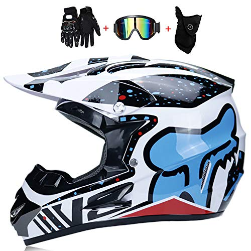 CAJUXI Creative Personality Motocross Helmet, Men and Women Four Seasons Universal Beach Racing Helmet, Gloves Mask Glasses Set of - Glasses 685