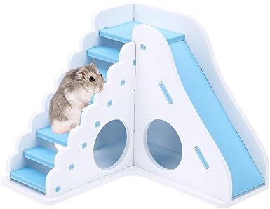 LANSKIRT Casa Hamster Escaleras de Juguetes para Hamsters Casa de Juegos de Entretenimiento de Juguete Movimiento de Escalera de Madera Casa Mascota: Amazon.es: Ropa y accesorios