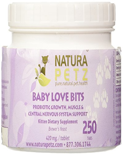 Natura Petz Baby Love Bits Probiotic Growth, Muscle and Central Nervous System Support for Kittens, 250 Tablets, 420mg Per ()