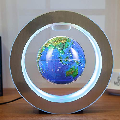 Magnetic Floating Map Globe with Round Socket, 4'' Rotating Planet Earth Globe Ball Anti Gravity LED Light Lamp- Educational Gifts for Kids, Home Office Desk Decoration,Business Gift(Blue) by WanTang (Image #2)