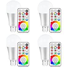 Yangcsl E26 Dimmable Color Changing LED Light Bulbs with Remote Control, Memory & sync, Daylight White & RGB Multi Color, 60 Watt Equivalent (4 Pack)