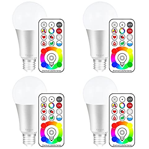 Yangcsl E26 Dimmable Color Changing LED Light Bulbs with Remote Control, Memory & 3-Way, Daylight White & RGB Multi Color, 60 Watt Equivalent (4 - 3 Color Led