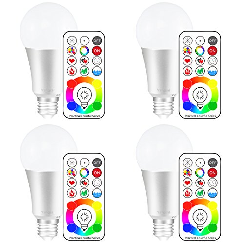 (Yangcsl 120 Colors E26 Dimmable Color Changing LED Light Bulbs with Remote Control, Memory & sync, Daylight White & RGB Multi Color, 60 Watt Equivalent (4 Pack))