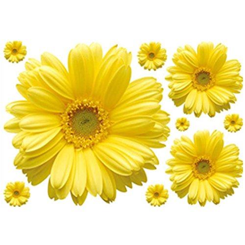 Photno New Yellow Chrysanthemums Wall Sticker Decal Home Decor for Living Bed Room Study TV Wall