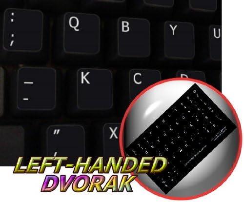 DVORAK LEFT-HANDED NON-TRANSPARENT KEYBOARD STICKERS BLACK BACKGROUND
