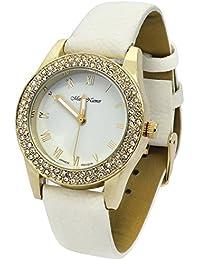 Ladies Gold Tone White Leather Band Fashion Casual Quartz Wrist Watch Watches Mark Naimer