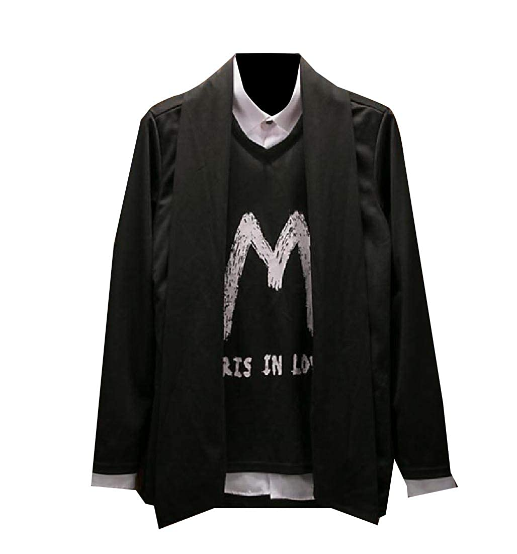YUNY Mens Letter Printed Autumn Fake Two Piece Outwear Sweatshirts Black M
