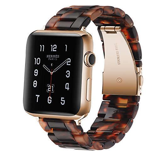 Fwheel Compatible with Apple Watch Band 38mm, Fashion Lightweight Resin Band with Stainless Steel Rose Gold Buckle Compatible with iWatch Series4 3 2 1