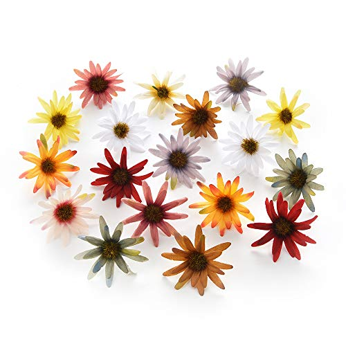 Daisy Flower Heads Bulk for Crafts Artificial Flowers Heads Silk Daisy Bride Bouquet Fake Flowers Christmas Home Wedding New Year Decoration Fake Plants Sunflower Decor 80pcs 5cm (Colorful)