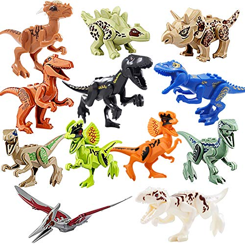 Johouse Dinosaurs Playset Building Blocks ,12PCS DIY Dino Action Figures Educational Toy Idea Gift for Boys Girls Party Favors