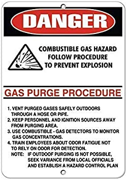 DKISEE Aluminum Safety Sign Combustible Gas Hazard Follow ...