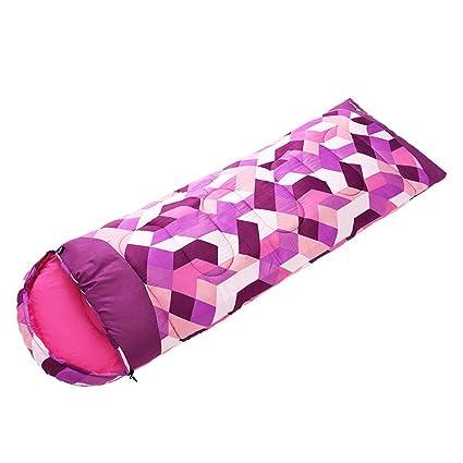 GUOQI Saco De Dormir Al Aire Libre Material De Fibra Sintética Lavanda Cálido Invierno Solo Acampar