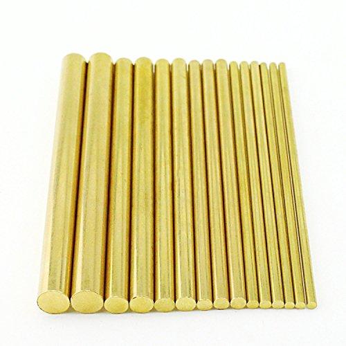 Sutemribor Brass Round Rods Bar Assorted Diameter 2-8mm for DIY Craft (15 PCS)