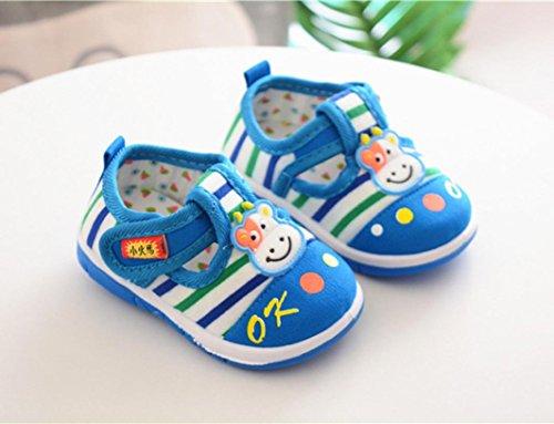 MuSheng Weiche Sohle Krabbelschuhe Blau Babyschuhe Kleinkind Hausschuhe Karikatur für Baby Blau