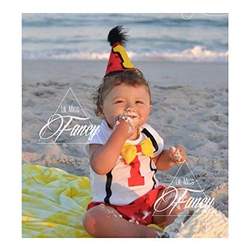 Amazon Disney Mickey Mouse First Birthday Cake Smash Outfit And Onesie W Optional Party Hat Handmade