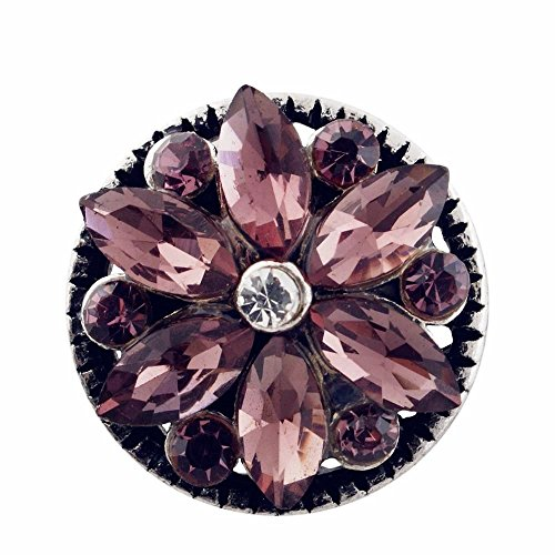 My Prime Gifts Mini 12mm Snap Jewelry Rhinestone Flower Light Purple & Clear ()