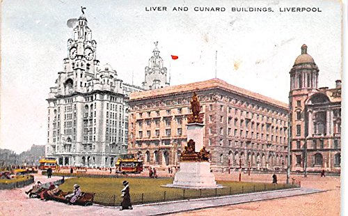 - Scotland, UK Old Vintage Antique Post Card Liver and Cunard Buildings Liverpool 1933 Missing Stamp