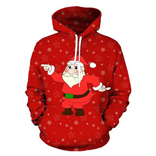 Sunhusing Cool Men Christmas Dancing Santas Printing Long Sleeve Sweatshirt Drawstring Hoodie Tops