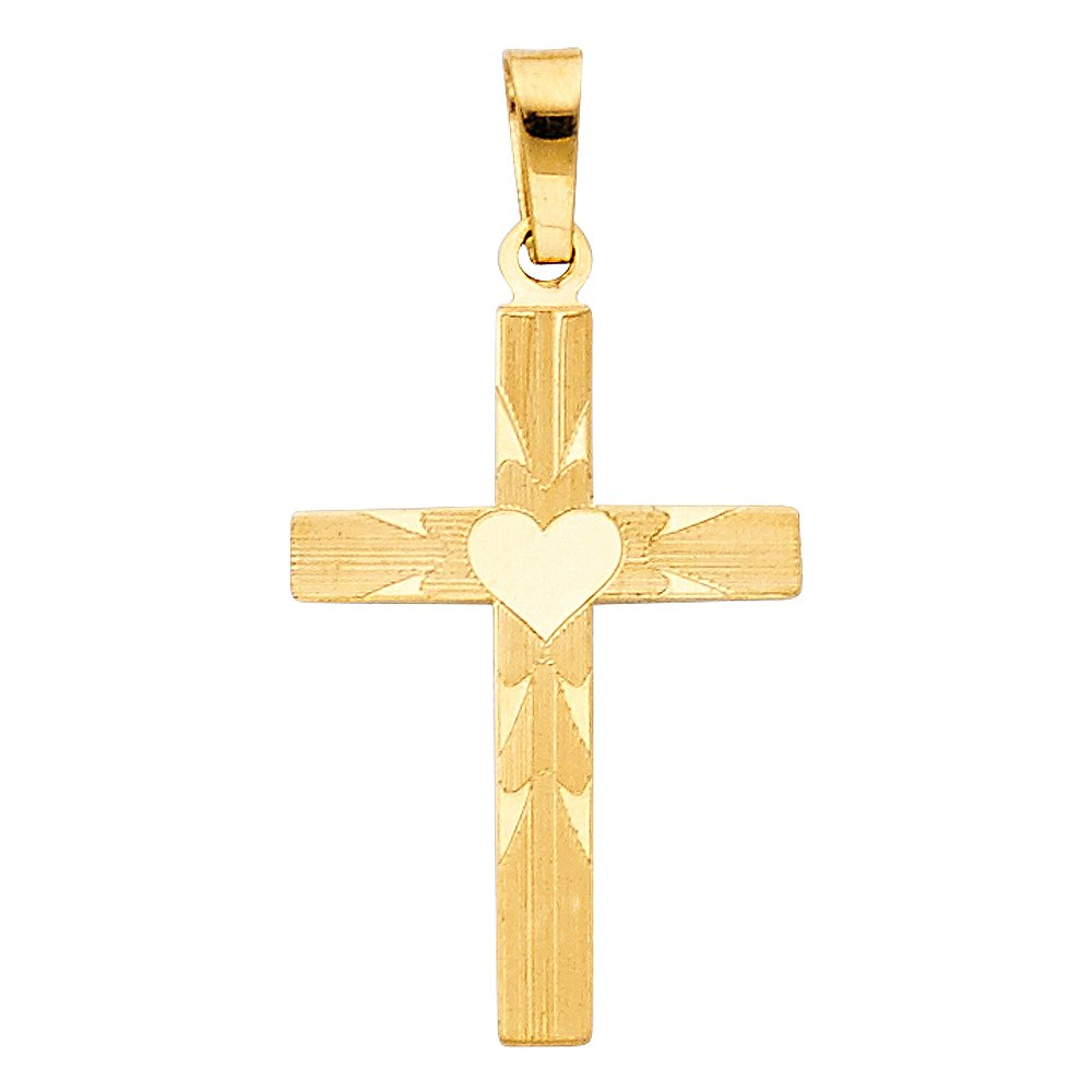 14K Yellow Gold Cross Charm Pendant with 1.8mm Singapore Chain Necklace