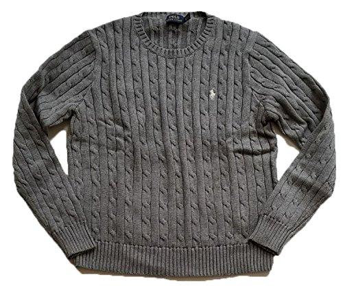 RALPH LAUREN Polo Womens Cable Knit Crew Neck Sweater (Medium, Fawn Grey/White - Woman Ralph Lauren For