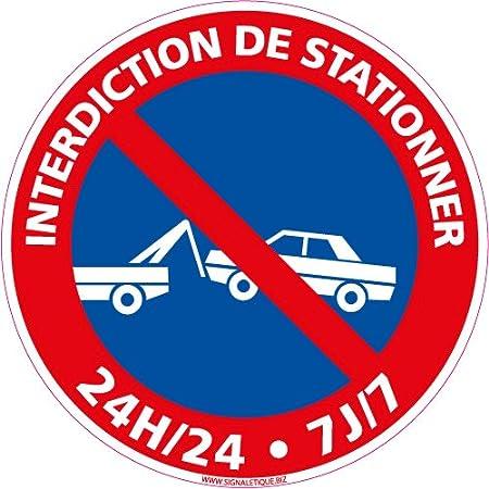 Diam/ètre 250 mm panneau interdiction de stationner Double face au dos Panneau Stationnement interdit Plastique rigide disque PVC 1,5 mm