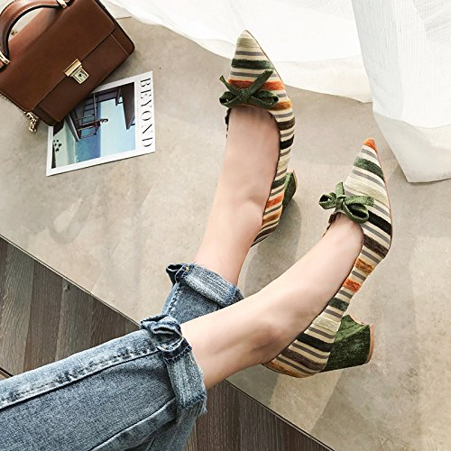 Coloring Dating Pointed Spring Heel Nifty High Elegant Knot Shoes Lady Shallow Green Women Butterfly Shoes Single Rough MDRW 35 Mouth Work Leisure Sweet 6Cm Heels Stripes Shoes wqH1xI0