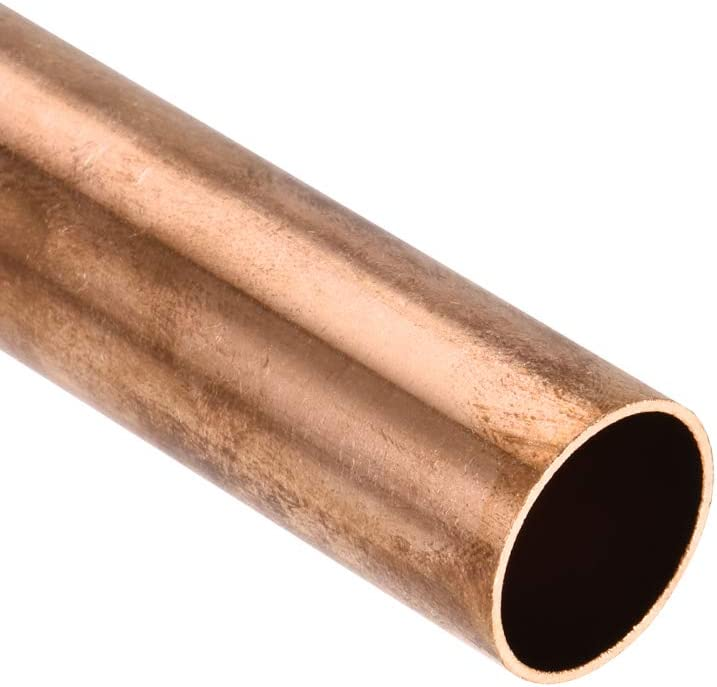 sourcing map Cobre Redondo Tubo 22mm OD 1mm Pared Grosor 100 mm Longitud Hueco Recto Tubo Tuber/ía 2uds
