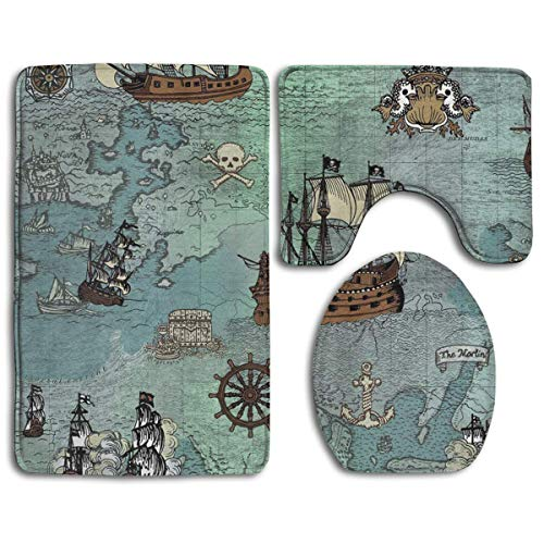 - Bath Mat Sets Anchor Pirate Ships Map Blue Contour Rug U-Shaped Toilet Lid Cover,Non Slip,Machine Washable,3-Piece Rug Set Easier to Dry for Bathroom