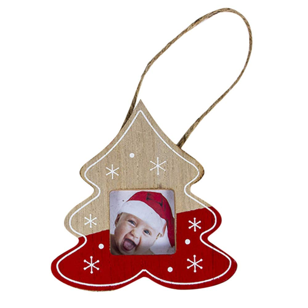 BOLUOYI Christmas Ornaments for Kids 2018,Creative Photo Frame Pendant Tree Party Hanging Decor
