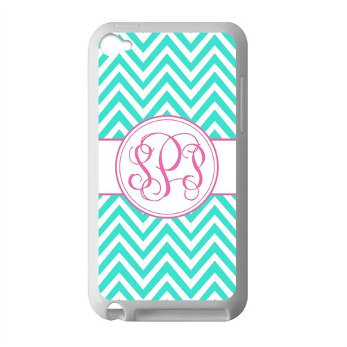 Monogram Personalized Turquoise Chevron Vs Pink Initials Pattern IPOD TOUCH 4 PVC Case/Cover New Fashion, Best Gift