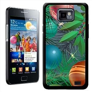 Fancy A Snuggle - Carcasa rígida para Samsung Galaxy S2 i9100, diseño de árbol de Navidad con adornos