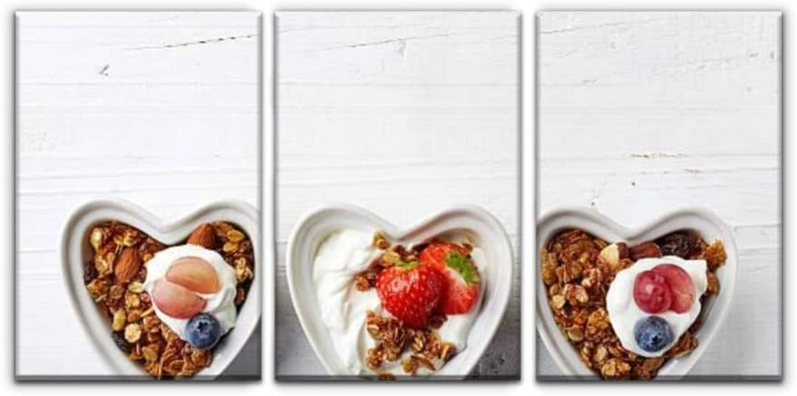 Modern Canvas Painting Bowls of Granola, Yogurt and Berries get healthys and Pictures Wall Art Artwork Decor Printed Oil Painting Landscape Home Office Bedroom Framed Decor (16