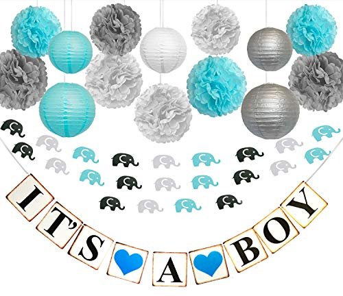 Decorations For Babyshower (Infinity Bliss Baby Boy Shower Decorations for Boy Set of It's A Boy Baby Shower Decorations Banner, Paper Lanterns & Paper Pompom Decoration BabyShower Party Kits Decoration with Elephant)