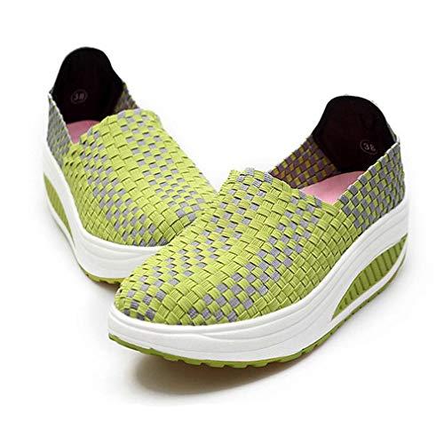 August Jim Women Fashion Sneakers,Breathable Elastic Woven Slip on Platform Flats Shoes