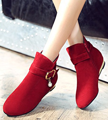 Buckle Sweet Low Boots Ankle Short Suede Womens Red Zipper IDIFU Side Faux Pendant Heels RqWSttPF4