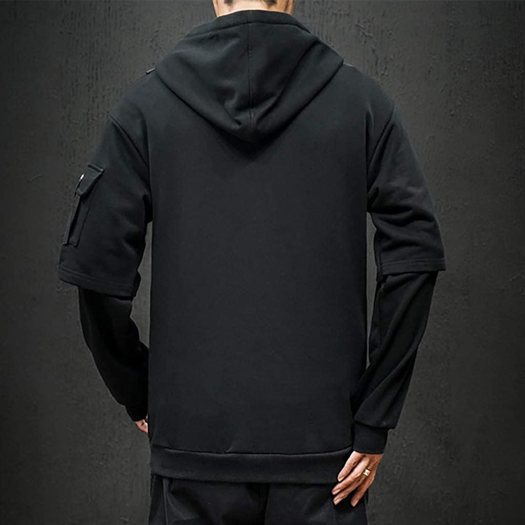2019 Fashion Hoodies for Men Cotton Long Sleeve Casual Cargo Pullover Sweatshirt Tops with Pockets