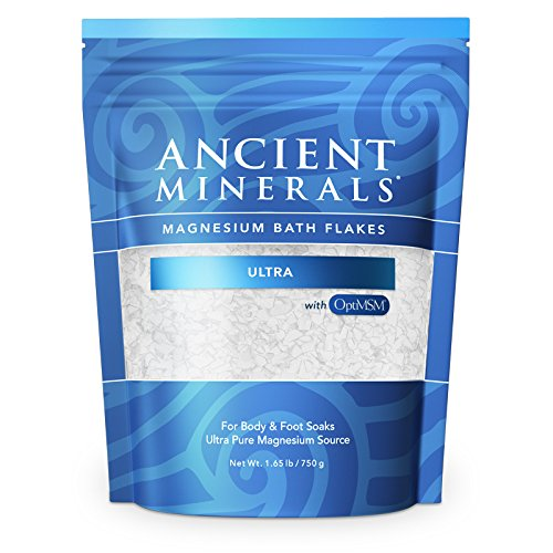 Ancient Minerals Magnesium Bath Flakes Ultra with OptiMSM 1.65 lbs - Pure Genuine Zechstein Magnesium Chloride - Bath Salt Supplement with MSM - Best for Topical Skin Absorption in Bath and Foot Soaks