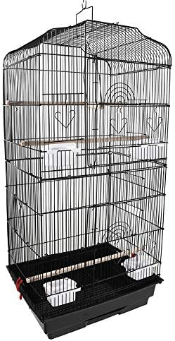 Goobest 37 Iron Bird Parrot Cage Cockatiel Detachable Lovebird Finch Bird Cage with Wooden Timber Perches,Swing Food Cups Small and Medium Parrots Black