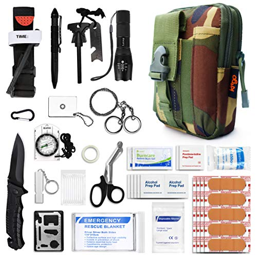 Adventure Medical Kits Gear - Kitgo Emergency Survival Gear and Medical First Aid Kit - IFAK Outdoor Adventure Camping Hiking Military Essential - Pro Compass, Fire Starter, CAT Tourniquet, Flashlight and More