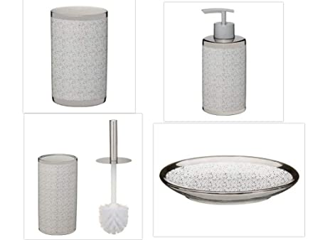 Toilet Accessoires Set : A2z home solutions perfect metallic printed bathroom accessories set