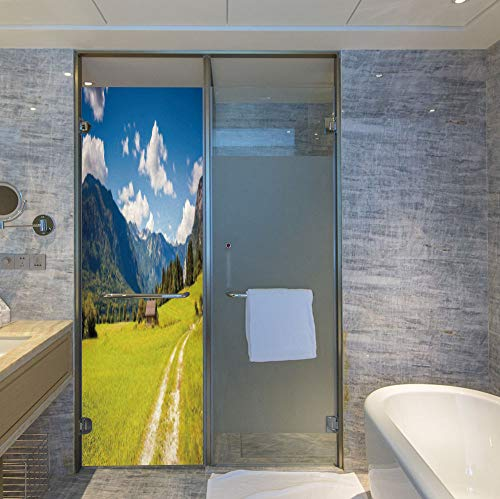 (ALUON Vinyl Non Adhesive Privacy Film,Nature,for Any Places: Kitchen, Bedroom,Julian Alps Mountain Valle Rural with Wooden)