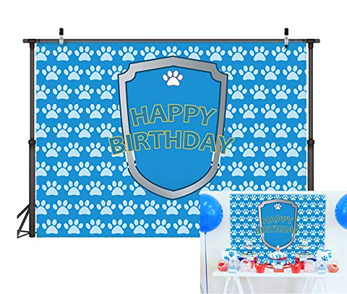 TJ Cartoon Blue Puppy Dog Paw Backdrop Baby Shower Boys Birthday Pet Theme Party Banner Kids Photography Background Step and Repeat Cake Table Decorations Photo Booth Props 7x5ft Vinyl]()