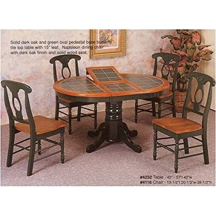 Amazoncom Pc Oak Green Oval Dining Table WTile Top Napoleon - Oval oak kitchen table and chairs