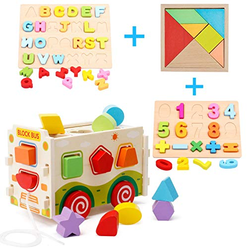 (Wooden Shape Sorter Toys, Wooden Shape Sorter Bus with Tangram & Number Puzzle Board & Alphabet Puzzle Board, Classic 3D Push Pull Truck Toy for Toddlers Learning Sort and Match for 1 2 Year Old)