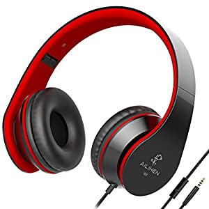 AILIHEN I60 Foldable Headphones with Microphone for iPhone iPad Laptop Tablet Android Smartphones(Black Red)