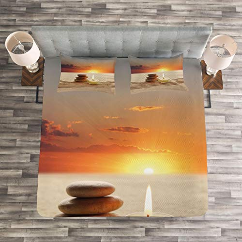 Lunarable Spa Bedspread Set Queen Size, Little Candle with Three Stones Middle of Sand with Sunset Serene Landscape, Decorative Quilted 3 Piece Coverlet Set with 2 Pillow Shams, White Brown and Orange by Lunarable (Image #2)