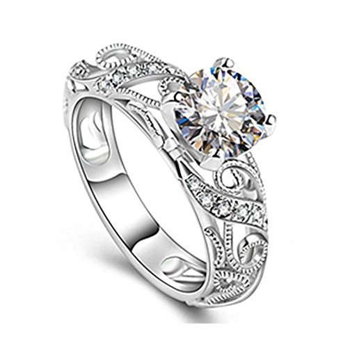 Fashion Ring, UMFun Micro Inlaid Four Claw Elegant Cut Diamond Ring Ladies Jewelry For Engagement Ring Gift (Silver, 7 #)